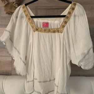 Free People white gauze butterfly blouse